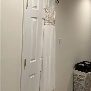 White Maxi Dress with Gold Embellishment